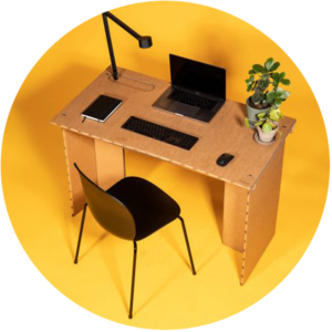Laser cutted cardboard desk by Stykka