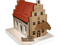 Model house - various materials laser cutting+ engraving + knife cutting