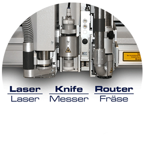 Laser, router and knife parallel on one machine