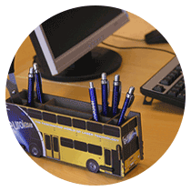 eurolaser event bus as pen box