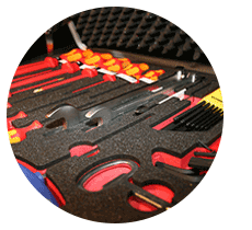 Foil, foam and textile are typical applications for the laser cutting of PUR