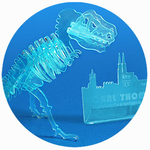 Laser cutting of an acrylic dinosaur