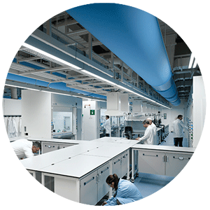 Air distribution systems are used in laboratories