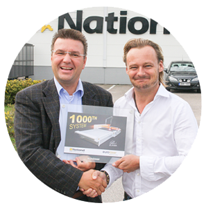 Matthias Kluczinski, general manager of eurolaser GmbH and Claes Rössel, general manager of National Gummi AB